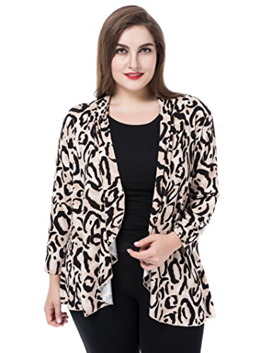 Chicwe Womens Plus Size Leopard Printed Casual Blazer Jacket - Waterfall Open Front