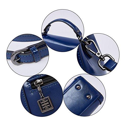 BOYATU à Handle dames Royal en bandoulière Vintage à Sacs cuir Bleu Top pour main Sac Femmes rnw8fr14qx
