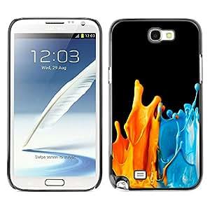 Qstar Arte & diseño plástico duro Fundas Cover Cubre Hard Case Cover para SAMSUNG Galaxy Note 2 II / N7100 ( Paint Splashes Orange Blue Modern Art)
