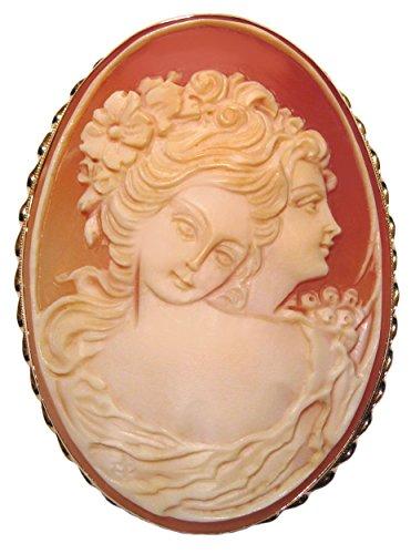 Cameo Brooch Pendant Master Carved, Carnelian Shell 14k Gold Italian