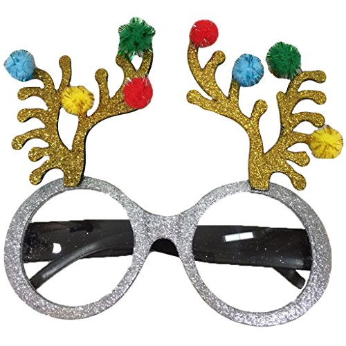 Novelty Glittered Christmas Decoration Fanci-Frames Party Accessory Elk Eyeglasses -