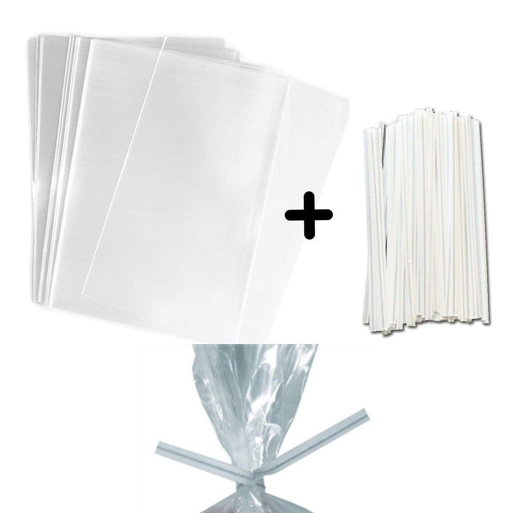 "100 Clear Treat & Favor Bags | Twist Ties Included | Great For Cake Pops, Candy, Gifts, Wedding or Party Favors | Food Safe Plastic | Stronger Than Cellophane | 1.5 Mils Thickness | 3"" x 4"""