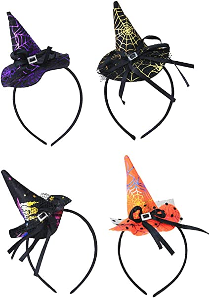 4 Pcs Halloween Witch Hat Headband Halloween Witch Spider Ghost Hats Headband for Halloween Party Carnivals Supplies
