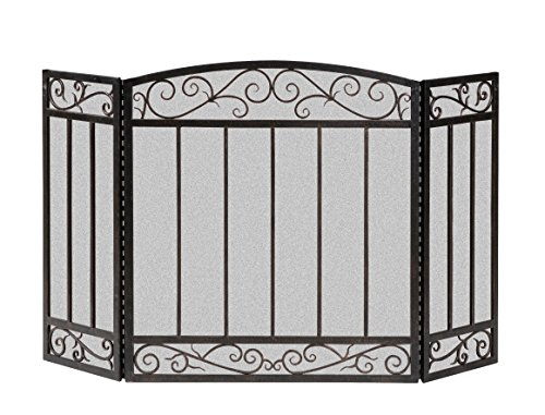 - Panacea 15918 3 Panel Scroll Screen with Vertical Bars, Brushed Bronze