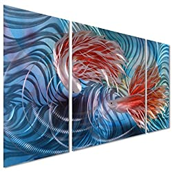 Tropical Fish Love Metal Wall Artwork Decor - Blue Modern Decorative Nautical Sea Art Sculpture for Kitchen and Bedroom - Set of 3 Panels 50 x 24