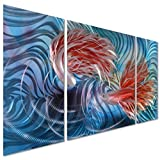 Tropical Fish Love Metal Wall Artwork Decor - Blue Modern Decorative Nautical Sea Art Sculpture for Kitchen and Bedroom - Set of 3 Panels 50'' x 24''