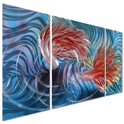 Tropical Fish Love Metal Wall Artwork Decor - Blue Modern Decorative Nautical Sea Art Sculpture for Kitchen and Bedroom - Set of 3 Panels 50