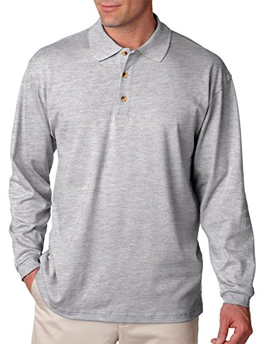 UltraClub Men's Egyptian Interlock Long Sleeve Polo Shirt, Hthr Grey, X-Large - Drop Needle Interlock Golf