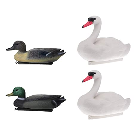 B Blesiya Pack Of 4pcs Floating Duck Drake Decoy, Swan Goose Hunting Bait,  Lawn
