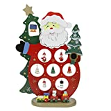 Christmas Desktop Ornaments Santa Claus/Snowman/Tree w/ Painted Snowflake Wood DIY Holiday Decoration Xmas Gifts for Unisex Kids