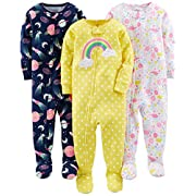 Simple Joys by Carter's Baby Girls' 3-Pack Snug-Fit Footed Cotton Pajamas, Dinosaur, Space, Rainbow, 6-9 Months