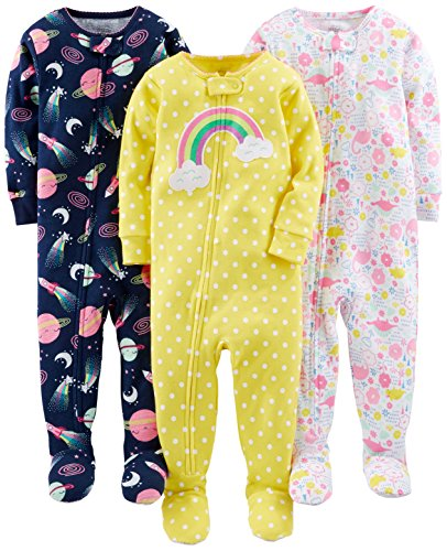 (Simple Joys by Carter's Toddler Girls' 3-Pack Snug-Fit Footed Cotton Pajamas, Dinosaur, Space, Rainbow, 3T)