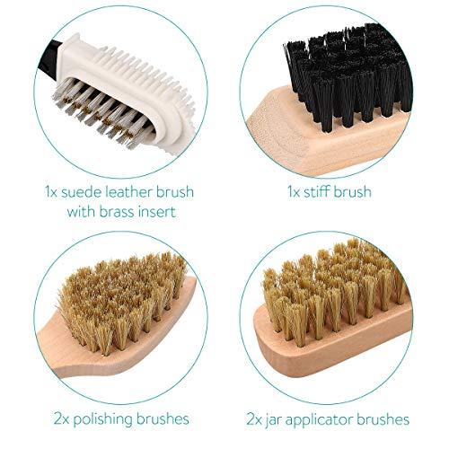 Navaris Set brosses à chaussures - Kit 8 outils d'entretien - 6x brosse 1x gomme 1x tissu de polissage - Nettoyage cuir… 3