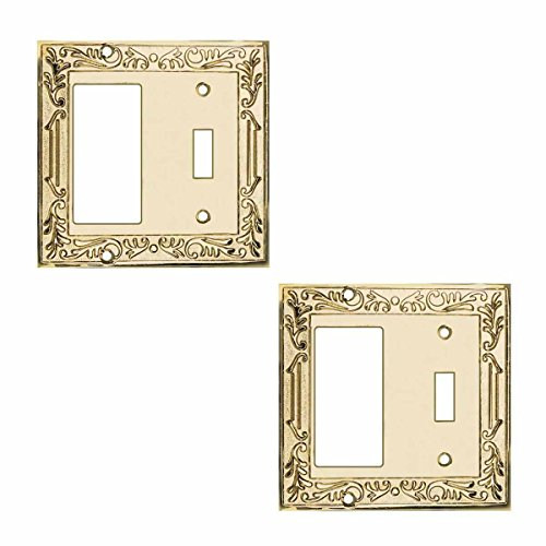 Victorian Bright Solid Brass GFI Toggle (Brass Victorian Switchplate)
