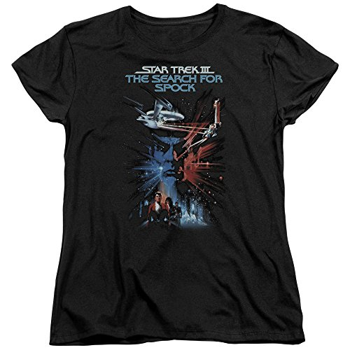 Star Trek Search For Spock Movie S S Womens Tee Black Lg