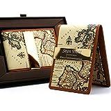 Free engraving - Groomsman Leather Money Clip, Map Print, 24K Gold, Swarovski Crystal