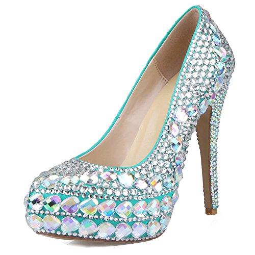 diamantes Verano Y Banquete Oro Noche yc Tacón Sandalias Cristal La De Zapatos Mujer Boda L Pu Alto Imitación Blue Para El fzUqF6