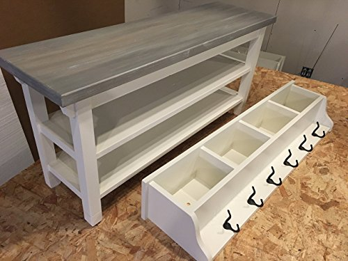 Hallway Mud Room Foyer Bench 42 Inch with Second Shoe Shelf and Matching Coat Rack Cubbie