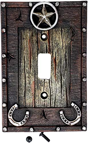 Rainbow Trading RA 8826 Western Star and Horseshoe Decorative Single Switch Plate - Covers Switch Horse Light