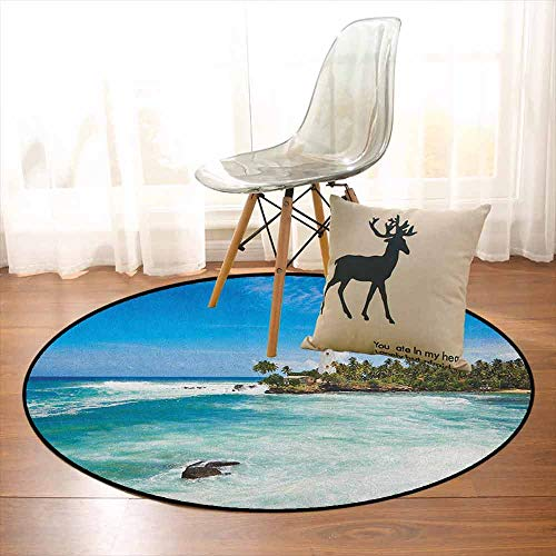 Lighthouse Regional Round Carpet Tropical Island Lighthouse with Palm Trees Rocks Wavy Seaside Beach Ocean Non-Slip Easy to Clean D47.2 Inch Blue White Green