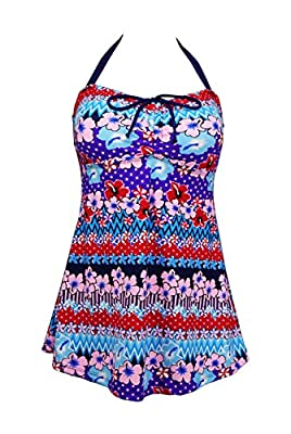 Dosoni Women's Plus Size Halter Two Piece Floral Swimsuit Bathing Suit