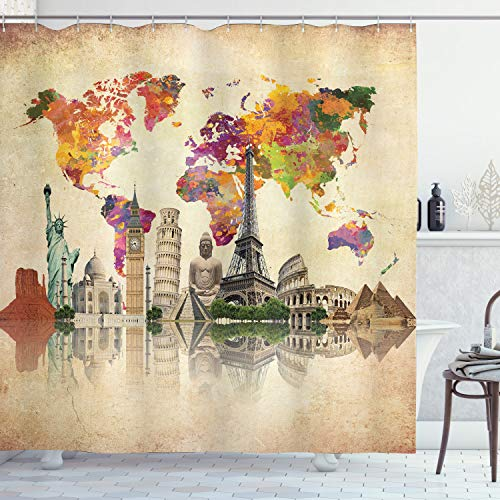 Ambesonne Vintage Map of the World Polyester 69-Inch-by-70-Inch Shower Curtain with Hooks (Fabric World Curtain Shower)