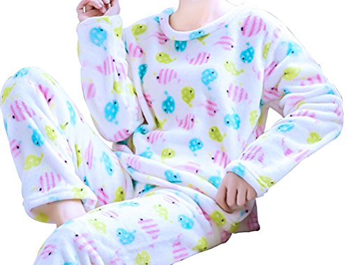 Respeedime Flannel Cartoon Pajamas Suit Long Sleeves Female Warm Home Service ()