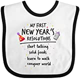 Inktastic Baby Boys' My First New Year's Resolutions Baby Bib White/Black