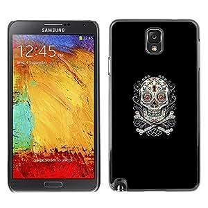 EJOY---Cubierta de la caja de protección la piel dura para el ** Samsung Note 3 N9000 ** --Azúcar Skull & Bones