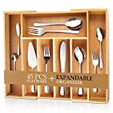 Teivio 45-Piece Silverware Set, Flatware Set Mirror Polished, Dishwasher Safe Service for 8, Include Knife/Fork/Spoon with Bamboo Extendable Silverware Drawer Organizer Box