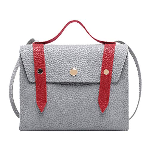 Respctful ✿ Women Shoulder Bags Leather Pu Waterproof Multi Pocket Tote Purse Handbag Gray ()