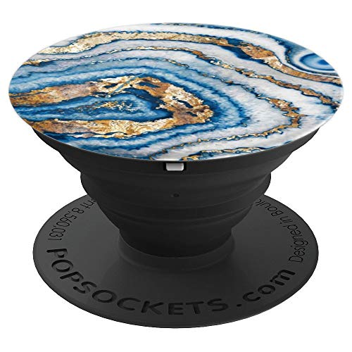 Gold, Ice Blue, Banded Agate, Quartz, White, Geode, Cute - PopSockets Grip and Stand for Phones and Tablets