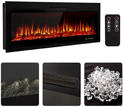 """Homedex 50"""" Recessed Mounted Electric Fireplace Insert with Touch Screen Control Panel, Remote Control, 750/1500W, Log/Crystal Options"""