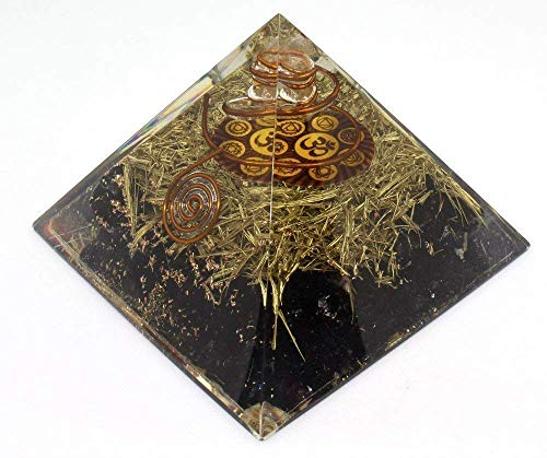 - Orgone Pyramid Energy Generator - Chakra Om Symbol Orgonite Black Tourmaline Crystal Pyramid with Brass Metal for EMF Protection - Chakra Balancing-Healing-Meditation-Yoga
