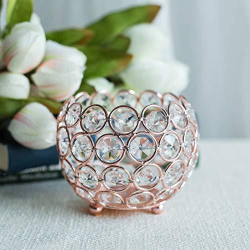 Efavormart Rose Gold Crystal Beaded Votive Tealight Wedding Crystal Candle Holder - 4