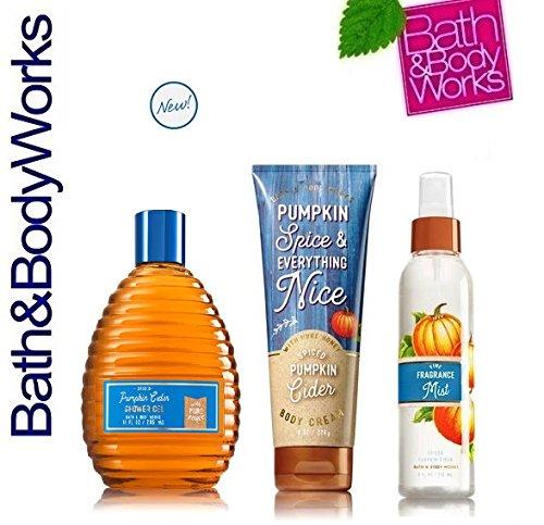 Bath & Body Works SPICED PUMPKIN CIDER Trio Gift Set Body Cream ~ Fine Fragrance Mist ~ Shower Gel ~ Lot of 3
