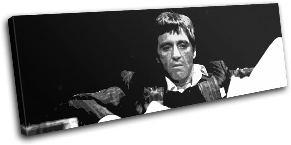 Bold Bloc Design - Scarface Al Pacino Movie Greats 135x45cm SINGLE Canvas Art Print Box Framed Picture Wall Hanging - Hand Made In The UK - Framed And Ready To Hang