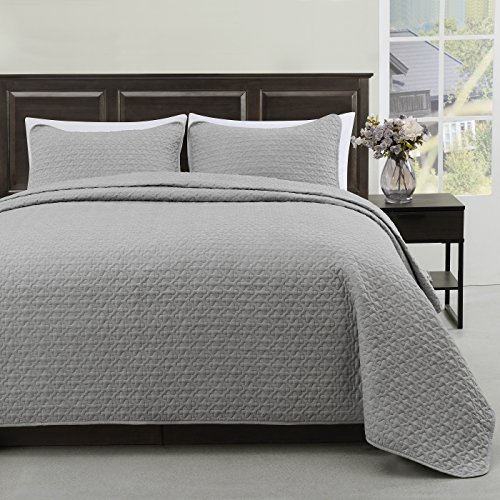 Cozy Beddings Madison 3pc Quilted Bedspread Cover Set, Light Weight and Oversized Coverlet King/Cal-King, Grey
