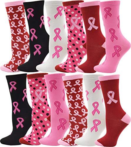 12 Pairs of Womens Breast Cancer Awareness Socks,