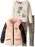 Betsey Johnson Little Girls' 3 Piece Jacket Set Plush Leopard, Coral, 6