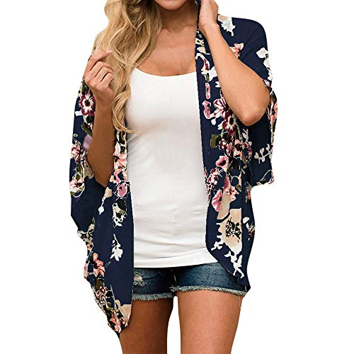 - FIRERO Floral Kimono Cardigan Light Chiffon Loose Half Sleeve Shawl Chiffon Cardigans for Womens Navy