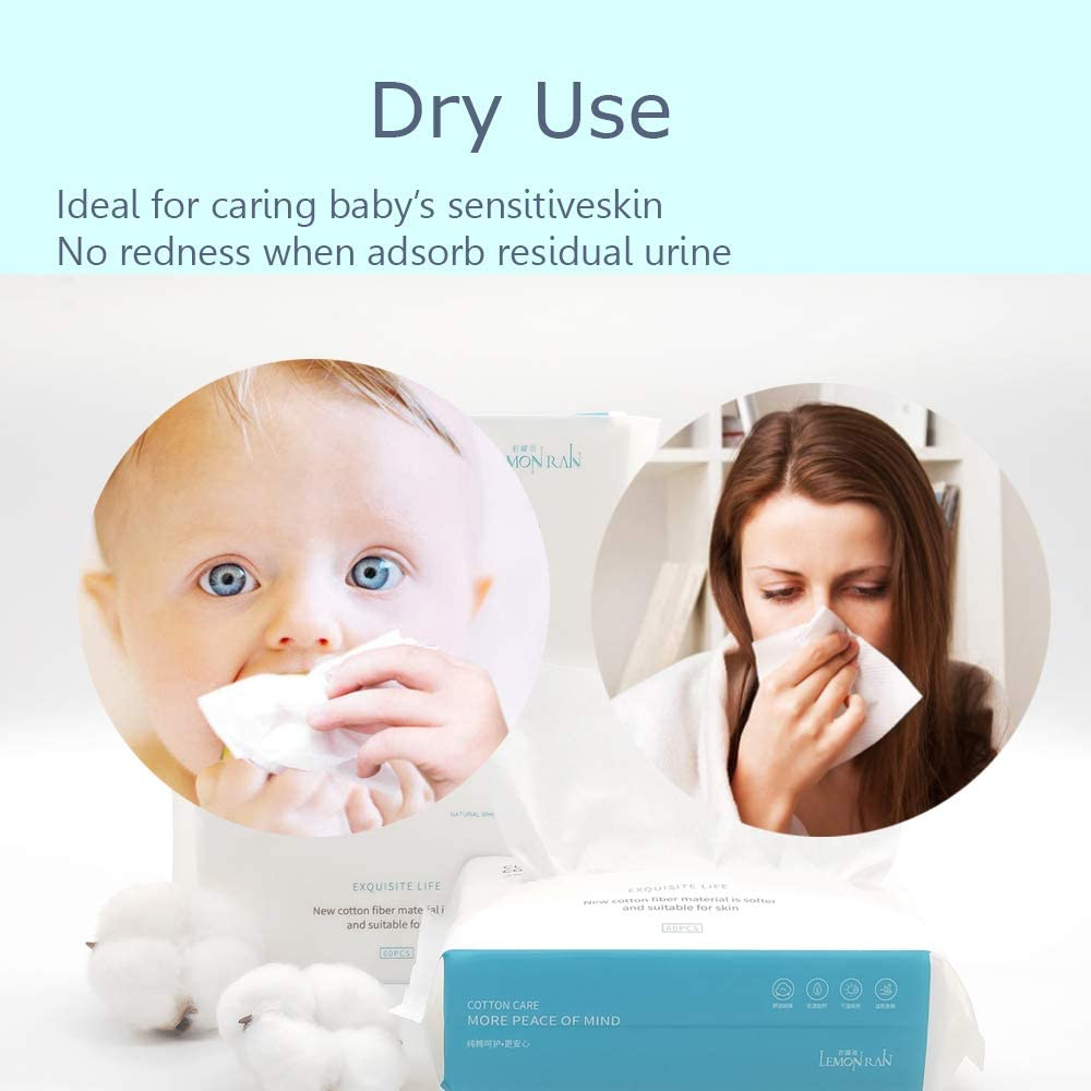 Perfect for Baby Care Dry Wet Amphibious Disposable Skincare Facial Cotton Tissue 1pack=60pcs Meal Time Nursing /&Makeup Removing 100/% Pure Cotton Natural Thick Soft Dry Wipes Runny Noses