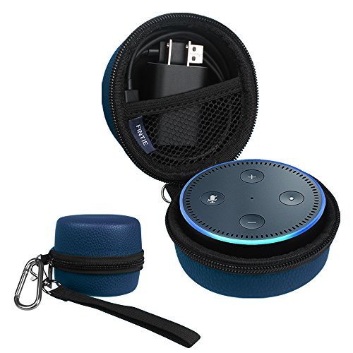 Fintie Protective Carrying Case for Amazon Echo Dot 2nd Generation - Shock Proof EVA Cover Zipper Portable Travel Bag Box (Fits USB Cable and Wall Charger), Navy