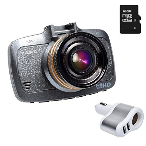 """Toguard 16GB 1080P FHD Dash Cam Car Camera - H.264, 2.7"""" LCD, G-Sensor, LDWS, FCWS, Parking Monitor, Motion Detection,Free gift(16G Memory card+Extra USB charger)"""