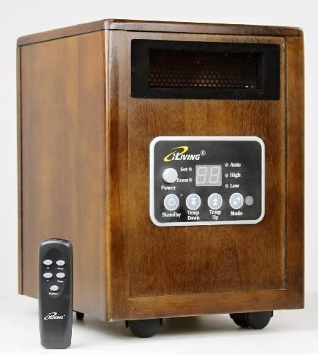 iLiving Infrared Portable Space Heater with Dual Heating System, 1500W, Remote Control, Dark Walnut Wooden Cabinet (ILG-918)