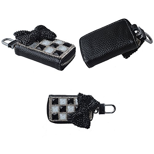 EVTECH(TM) Universal Car Smart Key Chain Leather Holder Cover Case Fob Remote 3D Handmade Luxury Shining Glitter Crystal Diamond Rhinestones (100% Handcrafted) (Pattern-A8)