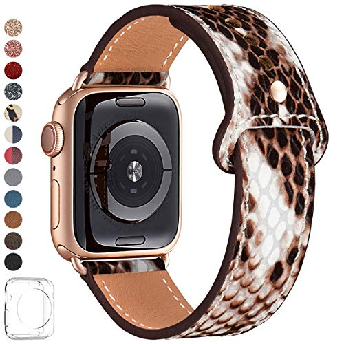 LOVLEOP Bands Compatible with Iwatch Band 40mm 38mm 44mm 42mm, Top Grain Leather Smart Watch Strap for iWatch Series 4 Series 3 Series 2 Series 1 ... (Snake Print+Rose Gold Connector, 38mm 40mm)