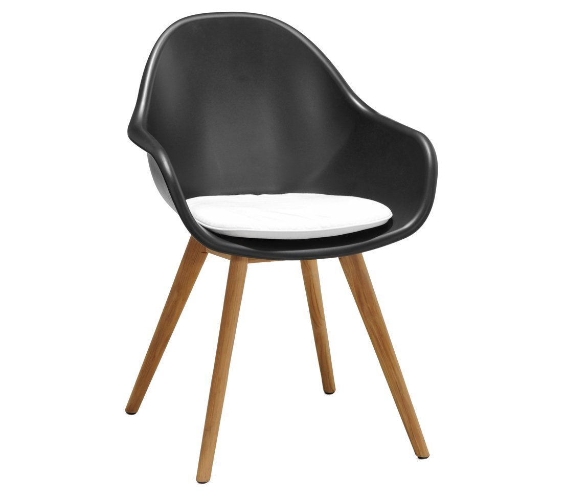 Dehner Designerstuhl Frida, ca. 85 x 58 x 45 cm, inkl. Sitzpolster, Kunststoff / FSC Teakholz, schwarz