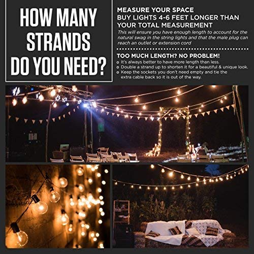 50ft Black String Lights, 60 G40 Globe Bulbs (10 Extra): Connectable, Waterproof, Indoor/Outdoor Globe String Lights for Patios, Parties, Weddings, Backyards, Porches, Gazebos, Pergolas & More by Outdoor Lighting Store (Image #8)