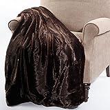 Home Soft Things BOON Plain Faux Fur Jumbo Throw, Coffee Bean, Throw (60x80'')